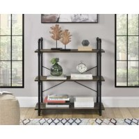 Organize your home office with this Etagere Bookcase. Made of laminated particle board and metal, the weathered medium brown finish pairs with the black powder-coated legs for a trendy look. The industrial style is enhanced by the metal pipe look of the legs for a distinctive look you will love. The end grain edge banding on the Bookcase gives the shelves the look of real wood. Display collectibles and organize your favorite books on the 3 shelves. The open concept gives you easy access to...