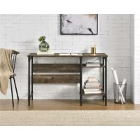 Give your home office a new look with this Computer Desk. Made of laminated particle board and metal, the classic finishes on this desk pair with powder-coated steel legs for a trendy look. The industrial style is enhanced by the metal pipe design of the legs offering a distinctive air you will love. Get the look of real wood with the end grain edge banding to add a realistic effect. The spacious desktop can accommodate your work lamp, laptop, and office supplies. The 2 side shelves are perfect...