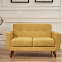 A modern style, linen fabric love seat, with wood legs, cushions removable.