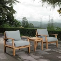 Create a compelling and cohesive aesthetic in your arrangement with this three-piece conversation set – which includes two chairs and one side table. Crafted from teak wood coupled with all-weather cushions, this set is perfect for your outdoor ensemble. Upholstered in foam-filled polyester, the cushions have machine-washable covers for your convenience, while their neutral finish allows them to blend with a variety of color schemes. Plus, this product comes backed by a one-year warranty.