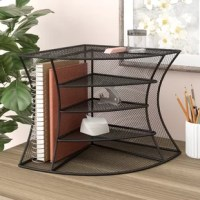 Organize your small items with files in reach on the side.  The unit fits perfectly in a 90-degree corner. Can be used as a corner organizer or as a radius organizer. Designed to hold binders, notebooks, file folders, CD's etc.