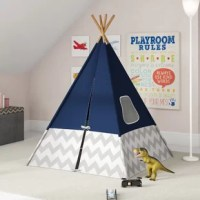 Whether the perfect spot for a nap or a cozy hideout for a read-a-then, a tent-like this is a great option for rounding out your little one's playroom. Crafted from fabric wound around a bamboo frame, this piece draws inspiration from traditional teepees and features ties on the door, as well as two mesh-covered windows. A gray and white chevron pattern wraps around the base of this tent for an eye-catching touch in any playroom. For an added handy touch, this piece folds up, making it easy to...