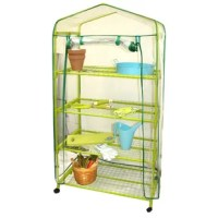 You can garden year round with the sturdy garden greenhouse. It sets up in minutes and offers wire grid shelving to allow air circulation. The locking casters offer stability.