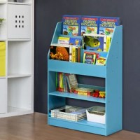 Perfect for playrooms and pre-school classrooms alike, this book display keeps reads and toys corralled in style. Crafted from wood, it features a curved silhouette with a colored finish for an understated look that fits right into classic and contemporary aesthetics. It includes three tiers of pocket shelving to show off picture books, while two shelves below are ready to be piled with playthings.