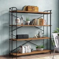 Set up your interior space with a classic industrial look that adds a unique accent to any room. Expertly constructed from distinctive metal pipework and inlaid with carefully-sourced solid fir, our etagere bookcase is designed to hold up under heavy use. Its shelves are an excellent display for your library or other treasured items including plants, knick-knacks, novels, pictures, and games. These shelves can hold it all. Perfect for living rooms, bedrooms, or home offices, our bookcase will...