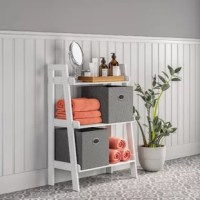 Perfect for holding toiletries in the bathroom, this versatile shelf brings both storage and style to your ensemble. Crafted from manufactured wood, its openwork shelves and ladder-style silhouette help create the illusion of more space, while a solid finish gives this item enough versatility to blend in with decor schemes from transitional to contemporary. Three tiers of shelving gives you plenty of room to tuck away accessories and organize knickknacks.
