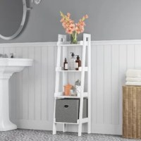 Bathroom clutter got you down? Not to worry, this freestanding organizer is here to help! Crafted from manufactured wood, this design conserves floor spaces as it clears cabinet messiness Its four shelves provide a spot to keep your makeup, toiletries, and other bathroom essentials. For added organization and a personalized look, slide a couple of storage bins in the bottom two shelves. Or, if your bathroom is already squeaky clean, but this organizer to work in a room that needs it!