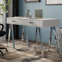 Whether you are working on your laptop or writing thank you notes to family and friends you'll love the ample workspace of this writing desk. With two storage drawers, your pens and paper will always be close at hand. This contemporary designed writing desk is perfect for modern aesthetics. This piece is crafted from manufactured wood, with metal legs. It measures 32'' H x 54'' W x 22'' D. This piece requires assembly upon arrival.
