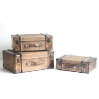 This product makes for beautiful decor and functional travel accessories. Each suitcase has a woven bamboo blocked center exterior bordered by copper plating with exquisite detailing that gives it a true worn feel. These suitcases are sturdy and beautiful and work great to display similar style items or simply by themselves.