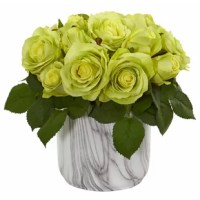 Add a touch of unexpected beauty to your home, reception area, or any other professional setting with this artificial rose arrangement. Surrounded by lush leaves, the soft and delicate blooms are so realistic that you'll almost think that they are the real thing. Use this ornament as a glamorous centerpiece for a romantic meal by placing it at the center of a table with LED candles.