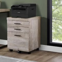 Keep your office organized with the help of this cabinet! Crafted of solid rubberwood and manufactured wood with laminate veneers, this cabinet strikes a boxy rectangular silhouette in a rich woodgrain finish for a reclaimed look. Featuring clean-lined pulls and set on metal glides, three drawers provide plenty of storage space for files, folders, and office supplies, while five hooded caster wheels offer effortless mobility (two of the wheels lock!). Measures 25.25