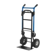 Easily converts to 3 different truck positions and auto locks into place with no pins or clips to lose. Harper trucks 4 in 1 convertible hand truck provide easy conversion from a 2 wheel dolly to a 4 wheel 45° incline truck or platform truck in seconds. Robotically welded 1 steel frame and handle 800 lb. 2 wheel dolly handle height 46 tall. Easily adjusts to 4 wheel assist.