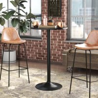 Measuring 40'' H x 24'' L x 24'' W, this compact pub table is perfect for casual meals and entertaining cocktail parties alike. Leave it solo in the den just waiting for guests to gather, or keep it corralled in the kitchen with a pair of bar stools. Crafted from metal and manufactured wood, its streamlined frame features a pedestal base and a circular top all finished in neutral black.