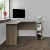 Create the perfect office space to work from home with the Salina L-Shape Computer Desk with Bookshelves. This Desk fits snuggly in a corner to maximize your home office space. The large desk top surface provides plenty of room for your monitor or laptop, as well as papers and other essential office supplies. The L-Shaped Desk even has 2 grommets built into the Desk to organize and manage your cords. Two open shelves on the side of the desk provide a perfect home for your binders and books, but...