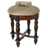 Rising from hand-turned legs to a perfectly cushioned, soft brushed chenille upholstered seat, this solid hardwood stool is ideal bedside, in a luxury bath, or at a ladies' vanity. This versatile, dark walnut-hued work of European-style furniture art is a refined, yet practical addition to home decor.