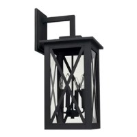 Crisp lines, straight silhouettes and clear glass punctuated by crisscrossing frames separate the 4-Light Outdoor Wall Lantern from the crowd. Crafted of durable materials.