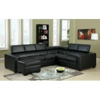 A great addition to a modern home, this elegant sectional has a built-in chaise. Modular in design, this sectional may be assembled in three different ways to accommodate any living space.