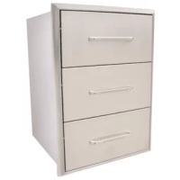 This Drop-In Drawer is made with premium 304 stainless steel for strength and durability. The drawer is constructed to withstand outdoor elements and weather environments. Drawers glide smoothly along tracks within a fully-enclosed 304 stainless cabinet. They add useful storage space for grilling tools, accessories and more.