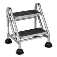 Perfect for getting to those out of reach tasks like filing, stocking shelves and overhead repairs. Four durable casters roll when pushed; retract into over-sized suction cup stabilizers when weight is applied. Extra wide 16