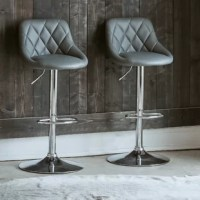 This Adjustable Height Swivel Bar Stool is the perfect addition to your home! This dynamic duo comes with two bar stools that are upholstered in a fashionable, faux leather fabric. The sleek, chrome base pairs beautifully with the fabric. The back cushion of the chair features diamond stitching creating extra flair for this already stunning set. These bar stools feature a swivel base, making sure you never miss a part of the conversation. Probably one of the best features about the bar stools...
