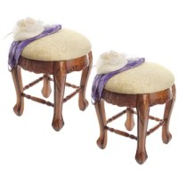 Rising from a hand-carved apron and cabriole legs to a perfectly cushioned seat, this baroque style solid hardwood stool is ideal bedside, in a luxury bath, or at a ladies vanity. Crowned with a generous expanse of tone on tone jacquard upholstery, this versatile, honey-hued work of European style furniture art is as practical as it is elegant.