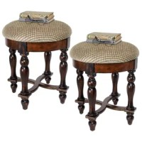 Rising from hand-turned legs to a perfectly cushioned, soft brushed chenille upholstered seat, this solid hardwood stool is ideal bedside, in a luxury bath, or at a ladies vanity. This versatile, dark walnut hued work of European style furniture art is a refined, yet practical addition to home decor.