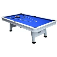 Bring classic billiards to your patio pool, or yard with this sleek and durable pool table. The Alpine features waterproof, UV-resistant felt that stands up to the strongest rainstorm and brightest summer day. Its sturdy rails and corners are powder-coated in a gloss-white finish, providing a polished look that fits any season. K-55 gum rubber cushions and a regulation, 8-ft size ensure quality, tournament-ready play.