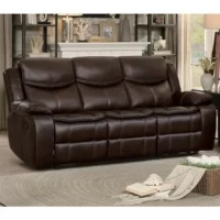 Your casual living room deserves a bold look and this double glider reclining sofa will deliver you with the best. The dark brown bonded faux leather seating features a manual pull reclining mechanism on each side that allows you to adjust it according to your comfort. The Plush seat and back along with cushioned armrests leave no stone unturned in providing you the ultimate relaxation.