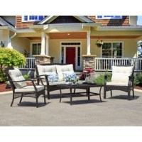Strong frame with all-weather PE wicker, durable set for outdoor living.