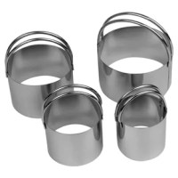 This set of 4 biscuit cutters are perfect for the baker in the house. Also great for cutting desserts and hamburgers.Set comes with 4 different sized biscuit cutters including: 2.75 inches Diameter, 2.4 inches Diameter, 2 inches Diameter, and 1.5 inches Diameter. All biscuit cutters are 1.5 inches Height. Made out of heavy gauge stainless steel that is dishwasher safe, though we suggest hand washing.  Please hand dry thoroughly after washing to prevent rust spots. Each biscuit cutter has a...