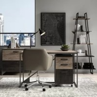 Anchor your home office with some industrial style using this four-piece set. Perch your PC or laptop on the rectangular desk while storing office essentials in the three-drawer mobile filing cabinet that conveniently fits underneath. The included frame bookshelf is perfect not just for showing off your favorite novels, but plants, photos, and accent pieces too! lastly, the lateral file cabinet is ideal for holding onto your important documents and more.