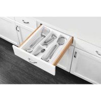 Rev-A-Shelf's drawer inserts are the best if you are looking for a custom look. Why settle for a utility insert that just drops in your drawer and moves every time you open and close your drawer. Create a custom fit by trimming to your exact size.