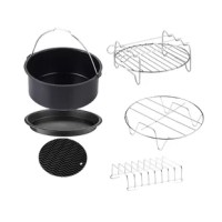 Do more with your air fryer with the Air Fryer Bakeware Set. It comes with a cake pan, pizza pan, multipurpose rack, metal holder, toasting rack and rubber mat.