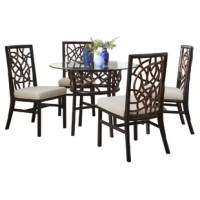 This Trinidad 5 Piece Dining Set was created to turn your dining room into a conversation piece and complete your dining area's abstract ambiance. Constructed from a solid rattan frame and rattan peel, with a cotton blend fabric cushion. Perfect for any living room.