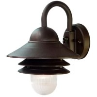 Illuminate your exterior in style with this wall-mounted barn light. Rated for wet locations, this industrial light is an ideal choice for uncovered porches and patios alike. Its metal shade and base are topped off with a neutral finish, and complemented by a downward facing ribbed acrylic diffuser. It accommodates either a fluorescent or incandescent 60 W medium base bulb (not included). Plus, it arrives backed by a three-year warranty from the manufacturer.