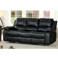 With a breathable faux leather upholstery and plush cushions, this reclining sofa offers three reclining seats with drop-down cup holders for optimal comfort. Its faux leather match is embellished with sleek accent stitching for a contemporary flair. With glider reclining mechanism, its manual side lever allows you to recline comfortably with ease. Does not include any featured product other than this three seater glider recliner sofa with center drop-down cup holders. Some assembly required.