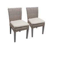 These modern outdoor dining chairs are perfect for when you want to sit back and catch up with friends over a meal or glass of wine. This 2-piece dining chair set is crafted from rust-resistant aluminum wrapped in light beige, fade-resistant resin wicker, so there's no need to worry about hauling them inside due to weather. The design features a fresh take on classic wicker furniture, with a wicker-wrapped seat and high back on top of four straight legs. These patio dining chairs come fully...