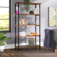 Cut the clutter in your living room, office, or den with this industrial-inspired five-tier bookcase. Showcase your favorite books, records, or decorative pieces all in one place. Crafted from a mixture of solid poplar wood and manufactured wood piece, with black and metal.