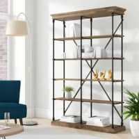 Modern with just a touch of industrial influence, this etagere blends style with utility. Its frame is crafted from powder-coated metal tubes, sporting an open, airy silhouette. An x-shaped brace in the back introduces both stability and aesthetic appeal. Five shelves crafted from solid and manufactured wood act as stages for decorative accents, books, potted plants, and anything else you want front-and-center. This design measures 84'' H x 15'' D overall.