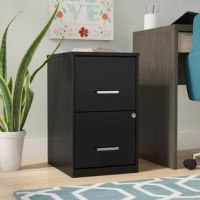 Crafted of steel in a classic baked enamel finish, this two-drawer file cabinet strikes a clean-lined rectangular silhouette. Set in soft-close drawer glides, two high-sided drawers with 4