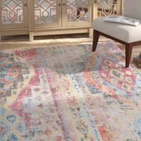The rug takes contemporary, abstract designs and combines with vivid bursts of color to create a striking product. The distressed appearance of this rug only serves to heighten the magical effect this rug produces. It will take your home's decor to another exciting level.