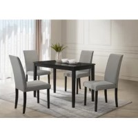 Anchor your dining space in clean, transitional style with this five-piece solid wood dining set. Crafted of rubberwood in a gloss black finish, the table strikes a rectangular silhouette on four tapered square legs. Measuring 29.75