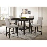 Anchor your dining space in clean, transitional style with this five-piece solid wood dining set. Crafted of rubberwood in a gloss black finish, the table strikes a rectangular silhouette on four tapered square legs, while a lower shelf offers go-to storage. Measuring 36