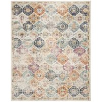Put the focus on your floors with this stylish area rug. The perfect way to add a splash of color to a neutral space, this rug is a must-have for your home. Showcasing a contemporary motif, geometric floral pattern faded look, and soft color palette, this rug is a lovely addition to any room. Crafted from a polypropylene blend, this artful rug stands up to high traffic areas, making it perfect for laying out under the dining room table or in the entryway.