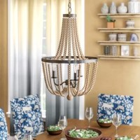 Add an eye-catching finishing touch to your space with this 3-light chandelier. This fixture strikes an empire silhouette with beaded accents for a boho touch, and hangs from an adjustable chain. A candelabra base holds three incandescent light bulbs (not included) – we recommend candle shaped – of up to 60W each. This pendant light can be installed on a dimmer switch so you have the right amount of light no matter the time of day. Plus, this chandelier can be hung on a sloped ceiling.