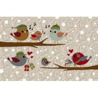 Festive birds are chirping a sweet holiday song on this adorable Christmas area rug.