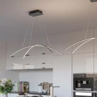 A superbly designed spectacle of lighting, this Reisinger 2-Light LED Kitchen Island Linear Pendant is worth a salute. The two slim blades curve downward and are supported by four cables which allow for a variety of positions.