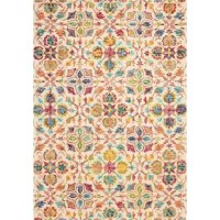Looks aside, area rugs help absorb and decrease noise as they soften the step of hardwood and tile flooring. Stylish too, this rug's splashy floral pattern brings bold boho style to dining rooms, master suites, and more. Made in India, it's hand-tufted from 100% wool yarn with a 0.5'' pile that invites you to sink your toes into as you read or watch TV. For care, we suggest professional dry cleaning. To keep this piece safely in place, a rug pad is recommended.