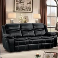 With a soft bonded leather upholstery and plush cushions draped with are Hyde match cover, this reclining sofa offers three seats with optimal comfort. Its black leatherette is embellished with accent stitching for a contemporary flair. With glider reclining mechanism, its manual side lever allows you to recline comfortably in the ease with stretching the legs on the pop-up footrest. This sofa inclusion is perfect to maximize support and comfort while resting or watching television.