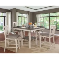 Catch up with your family and friends with this 5 Piece Counter Height Dining Set. This set includes one dining table and four additional chairs. Each chair is designed with a fiddle back and fabric-padded seat. The counter height construction allows for a storage shelf within the dining table.